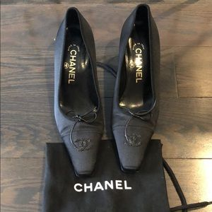 Chanel satin black pumps heels shoes